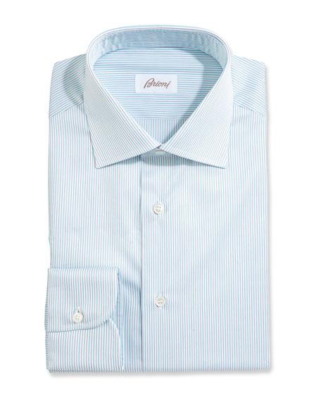 Fine-Stripe Dress Shirt, White/Aqua/Gray