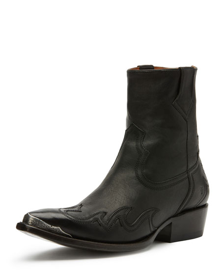 Frye Lou Metal-Toe Western Boot, Black