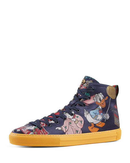 0a6b2dbbbf8 Gucci Donald Duck Men s Jacquard High-Top Sneaker