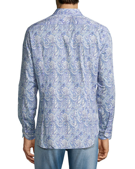 Allover Paisley Printed Sport Shirt, Blue