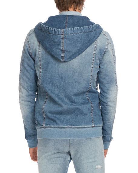 Denim Zip-Front Hoodie, Light Blue