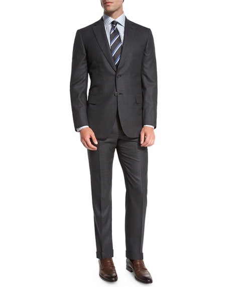 Box-Check Two-Piece Suit, Gray