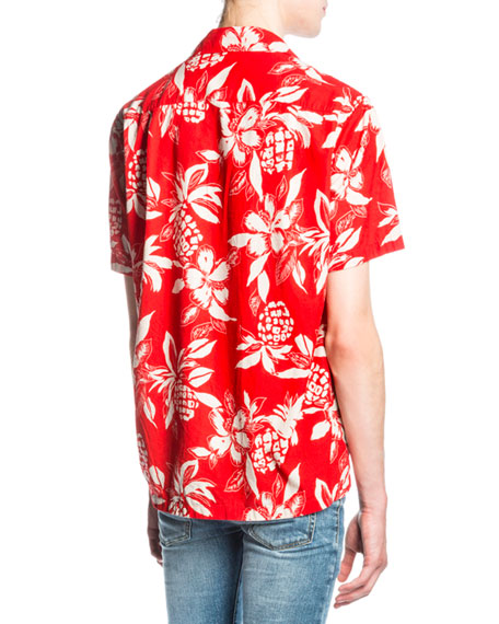 Hibiscus-Print Hawaiian Shirt, Red