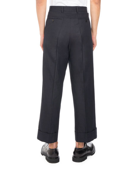 Penn Cropped Wide-Leg Pants, Navy
