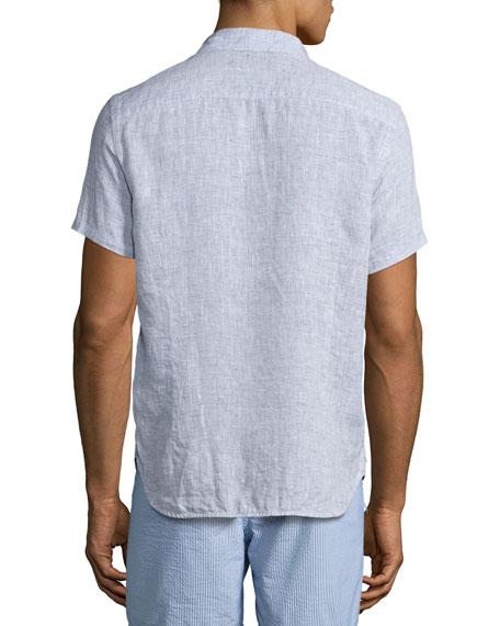 Meden Tailored-Fit Short-Sleeve Linen Shirt, Navy