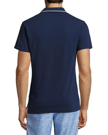 Donald Waffle Cotton Polo Shirt, Navy/White