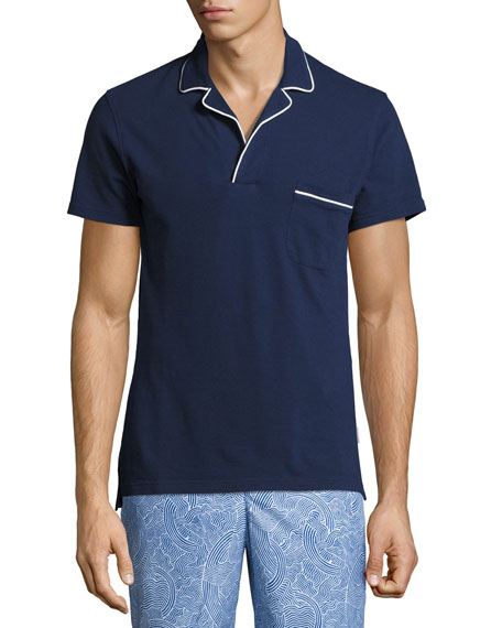 Orlebar Brown Donald Waffle Cotton Polo Shirt, Navy/White