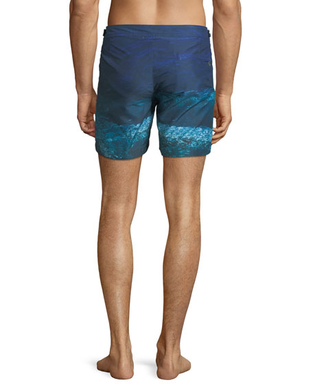 Bulldog Deep Sea Printed Swim Trunks, Blue