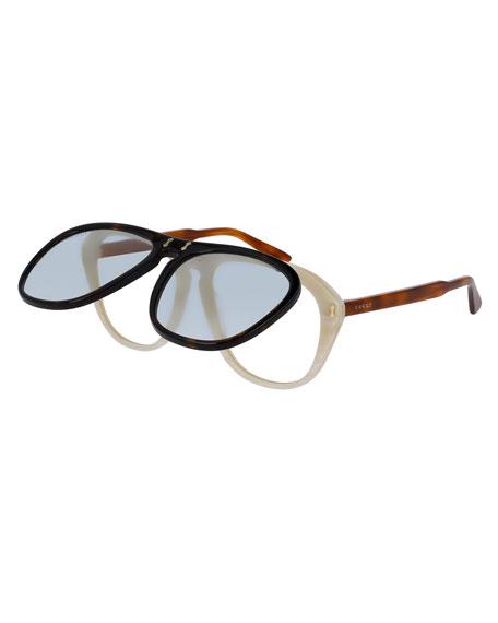 5e6269998 Gucci Gucci Flip-Up Aviator Sunglasses, Brown