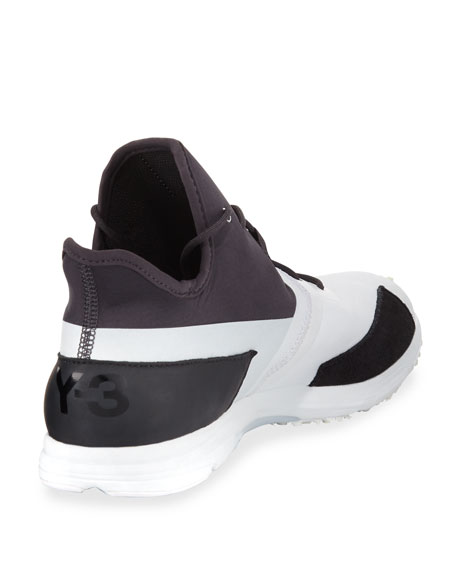 Men's Arc Mid-Top Textile Sneaker, White/Black