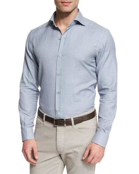 Link-Print Long-Sleeve Sport Shirt, Blue