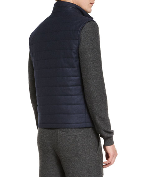 Wool/Cashmere-Blend Quilted Vest, Navy