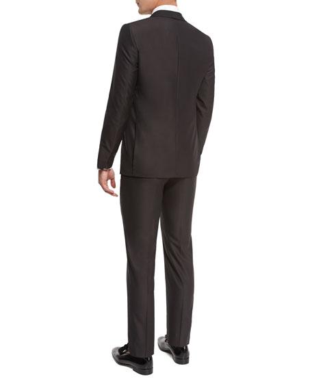 Grosgrain-Collar Tuxedo Suit, Brown