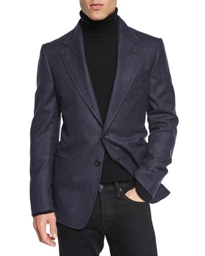 Windowpane-Plaid Cardigan Jacket, Navy