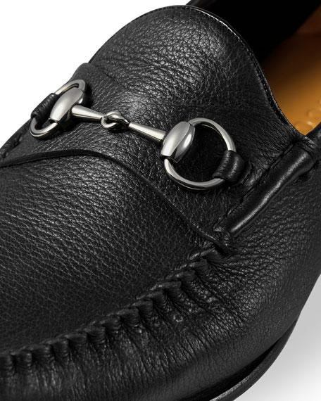 Unlined Leather Horsebit Loafer, Black