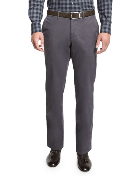 Five-Pocket Stretch-Cotton Pants, Light Gray