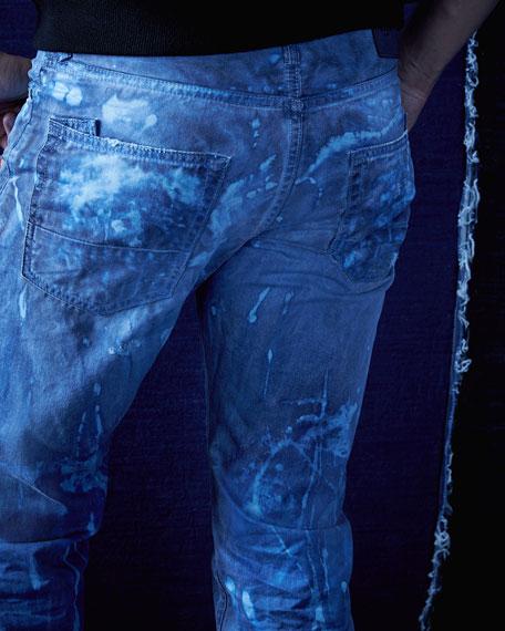 Barracuda Bleach-Splatter Denim Jeans, Dark Blue