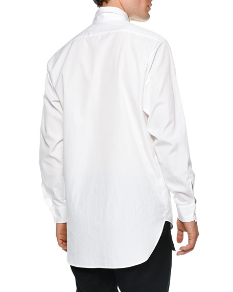 Oversized Flower-Print Long-Sleeve Sport Shirt, White