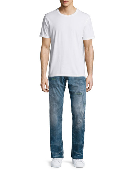 Barracuda Distressed & Faded Denim Jeans, Blue