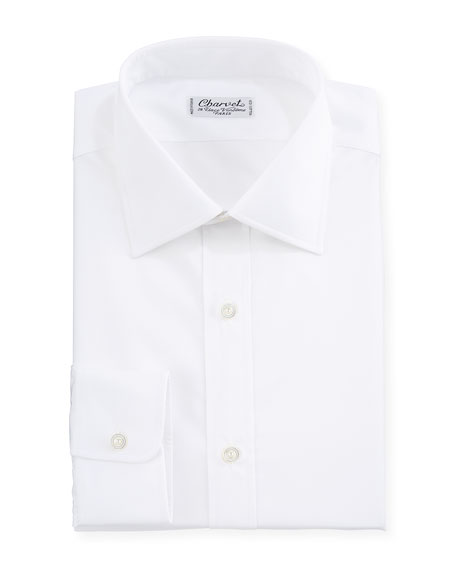 Image 1 of 1: Solid Poplin Dress Shirt, White
