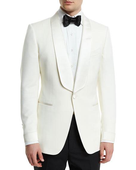 O'Connor Base Satin-Lapel Wool Jacket, Ivory