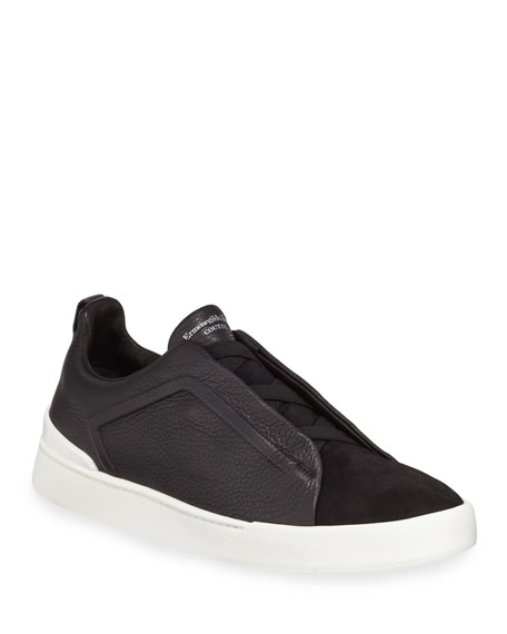 Men's Couture Triple-Stitch Leather & Suede Low-Top Sneakers, Black