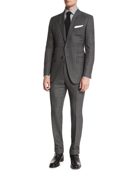 O'Connor Base Bicolor Gingham Two-Piece Suit, Black/Gray
