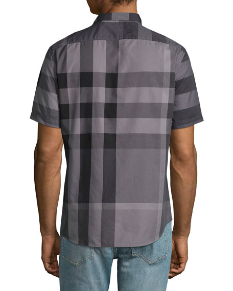 db97a40a2 Burberry Fred Exploded-Check Woven Shirt, Charcoal
