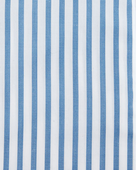 Bold-Stripe Dress Shirt, White/Blue
