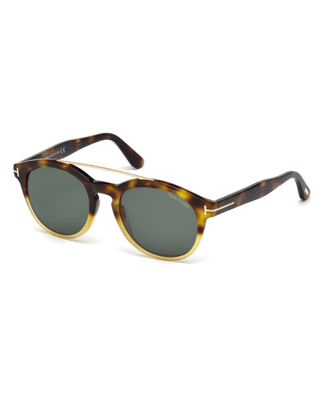 TOM FORD Newman Round Shiny Acetate Sunglasses, Classic