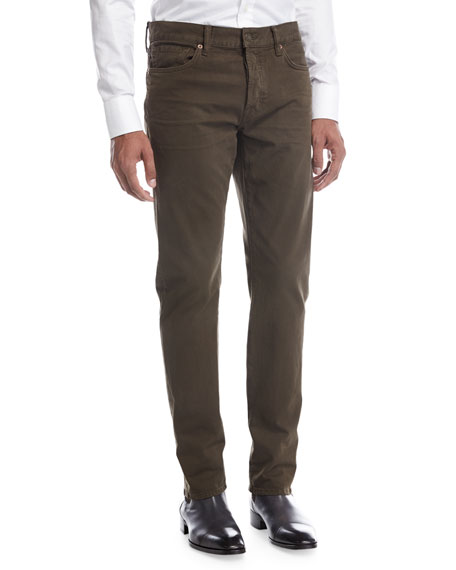 TOM FORD Straight-Fit Denim Jeans, Olive