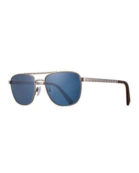 Titanium Double-Bar Aviator Sunglasses, Silver