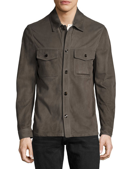 Suede Utility Shirt Jacket, Gray