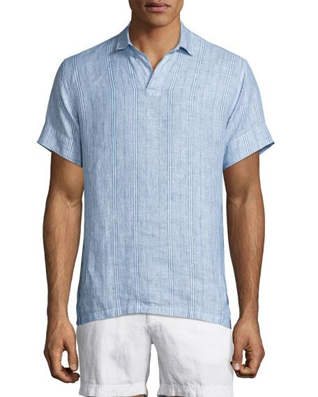 Patrick Striped Linen Polo Shirt, Iris/Cloud
