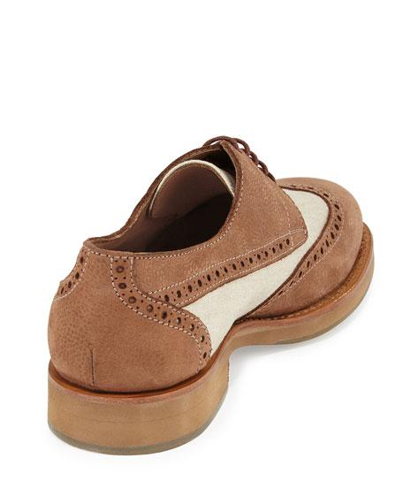 Mixed Media Wing-Tip Shoe, Beige