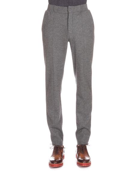 Flannel Jogger Pants, Charcoal