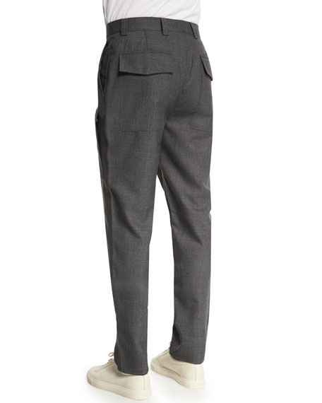 Para New Wool Cargo-Pocket Pants, Medium Gray