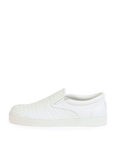 Woven Leather Slip-On Sneaker