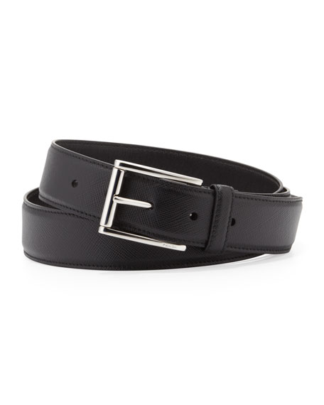 Saffiano Leather Belt, Black