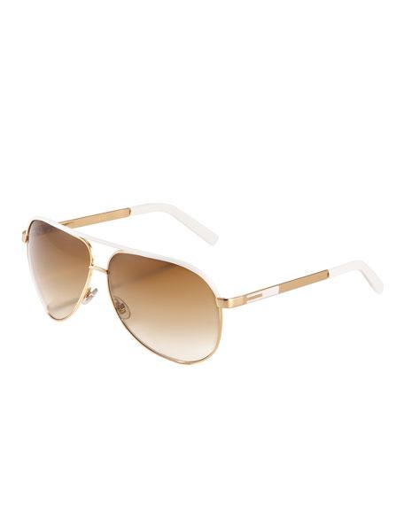 Aviator Sunglasses, Gold/White