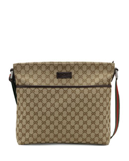 Canvas Messenger, Beige/Ebony