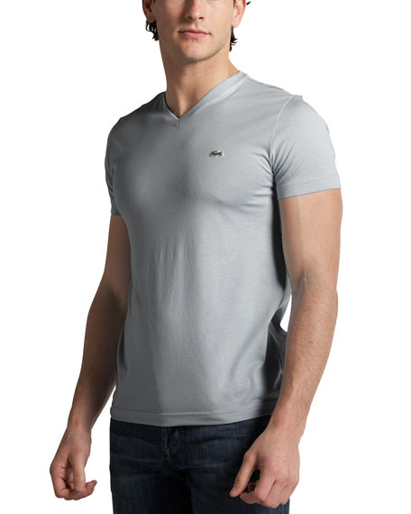 V-Neck T-Shirt, Silver-Gray