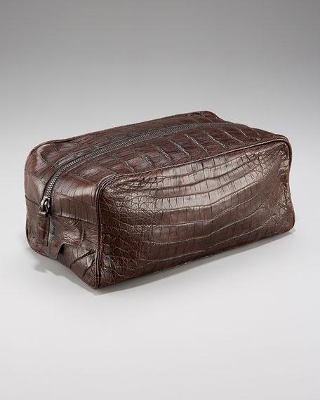 Zip-Top Crocodile Toiletry Bag, Brown