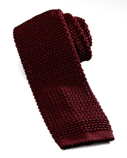 Knit Silk Tie, Dark Red