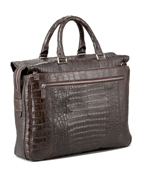 Zip-Top Crocodile Briefcase, Matte Brown