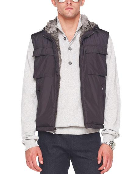 Fur-Lined Hooded Vest