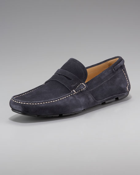 Suede Penny Driver, Navy