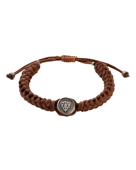 2a29fc280 Gucci Leather Crest Bracelet, Brown