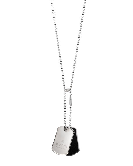 Dual Diamante Dog Tag Necklace