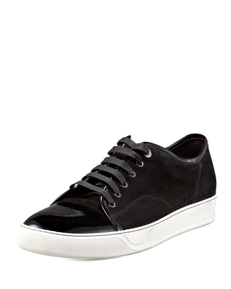 Patent-Toe Suede Sneaker, Black